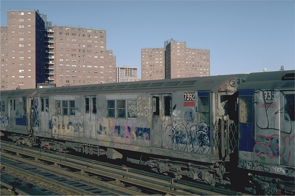 (237k, 1024x681)<br><b>Country:</b> United States<br><b>City:</b> New York<br><b>System:</b> New York City Transit<br><b>Line:</b> IRT West Side Line<br><b>Location:</b> 125th Street <br><b>Route:</b> 1<br><b>Car:</b> R-22 (St. Louis, 1957-58) 7392 <br><b>Photo by:</b> Steve Zabel<br><b>Collection of:</b> Joe Testagrose<br><b>Date:</b> 2/25/1982<br><b>Viewed (this week/total):</b> 2 / 4460