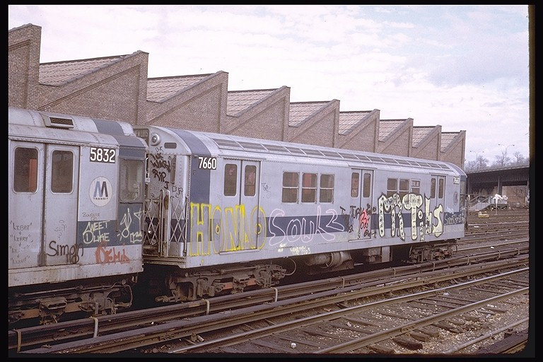 (136k, 768x512)<br><b>Country:</b> United States<br><b>City:</b> New York<br><b>System:</b> New York City Transit<br><b>Location:</b> East 180th Street Yard<br><b>Car:</b> R-22 (St. Louis, 1957-58) 7660 <br><b>Photo by:</b> Steve Zabel<br><b>Collection of:</b> Joe Testagrose<br><b>Date:</b> 2/3/1973<br><b>Viewed (this week/total):</b> 4 / 2963