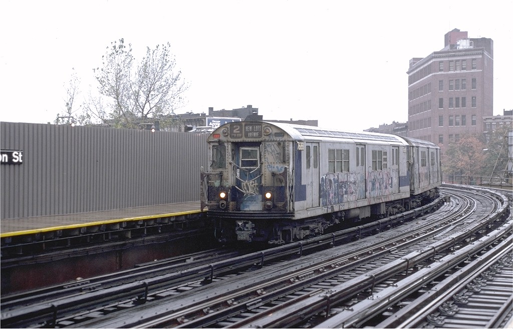 (178k, 1024x656)<br><b>Country:</b> United States<br><b>City:</b> New York<br><b>System:</b> New York City Transit<br><b>Line:</b> IRT White Plains Road Line<br><b>Location:</b> Simpson Street <br><b>Route:</b> 2<br><b>Car:</b> R-22 (St. Louis, 1957-58) 7688 <br><b>Photo by:</b> Steve Zabel<br><b>Collection of:</b> Joe Testagrose<br><b>Date:</b> 11/3/1979<br><b>Viewed (this week/total):</b> 4 / 4063