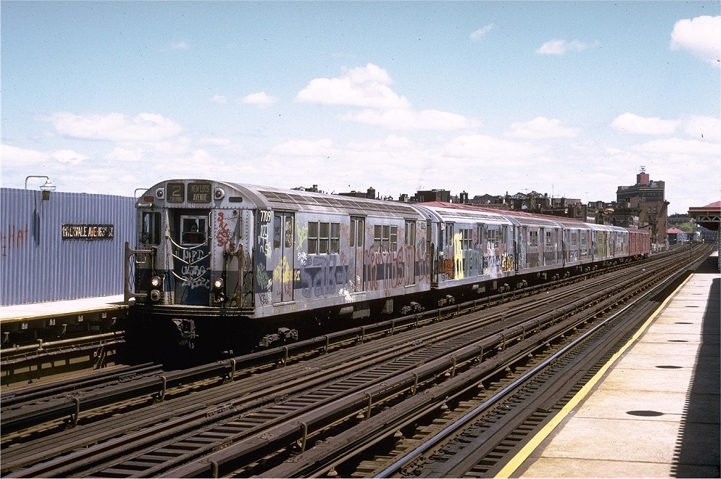 (240k, 1024x681)<br><b>Country:</b> United States<br><b>City:</b> New York<br><b>System:</b> New York City Transit<br><b>Line:</b> IRT White Plains Road Line<br><b>Location:</b> Intervale Avenue <br><b>Route:</b> 2<br><b>Car:</b> R-22 (St. Louis, 1957-58) 7709 <br><b>Photo by:</b> Joe Testagrose<br><b>Date:</b> 5/6/1973<br><b>Viewed (this week/total):</b> 0 / 3315