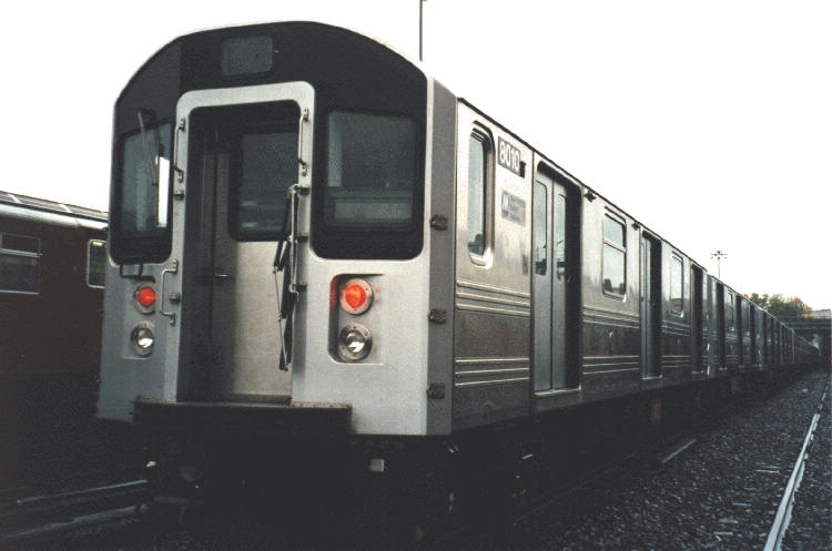 (45k, 750x497)<br><b>Country:</b> United States<br><b>City:</b> New York<br><b>System:</b> New York City Transit<br><b>Location:</b> 239th Street Yard<br><b>Car:</b> R-110A (Kawasaki, 1992) 8010 <br><b>Photo by:</b> Steve Kreisler<br><b>Date:</b> 1997<br><b>Viewed (this week/total):</b> 1 / 13147
