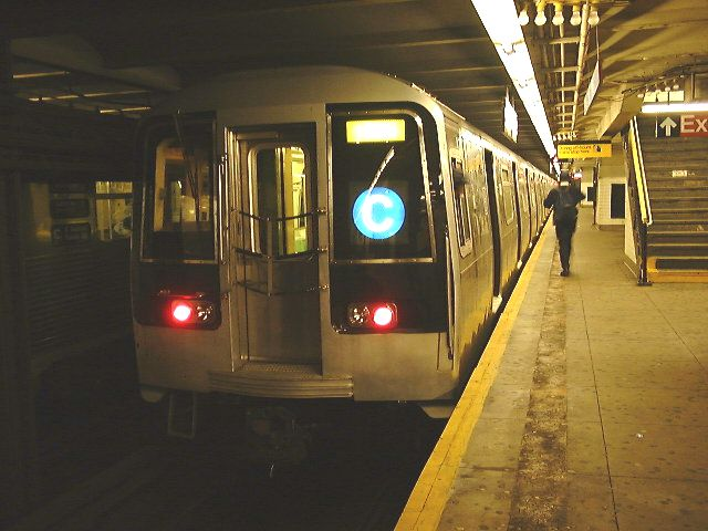 (65k, 640x480)<br><b>Country:</b> United States<br><b>City:</b> New York<br><b>System:</b> New York City Transit<br><b>Line:</b> IND 8th Avenue Line<br><b>Location:</b> 168th Street <br><b>Route:</b> C<br><b>Car:</b> R-110B (Bombardier, 1992) 3001 <br><b>Photo by:</b> Trevor Logan<br><b>Date:</b> 9/2000<br><b>Viewed (this week/total):</b> 4 / 15765