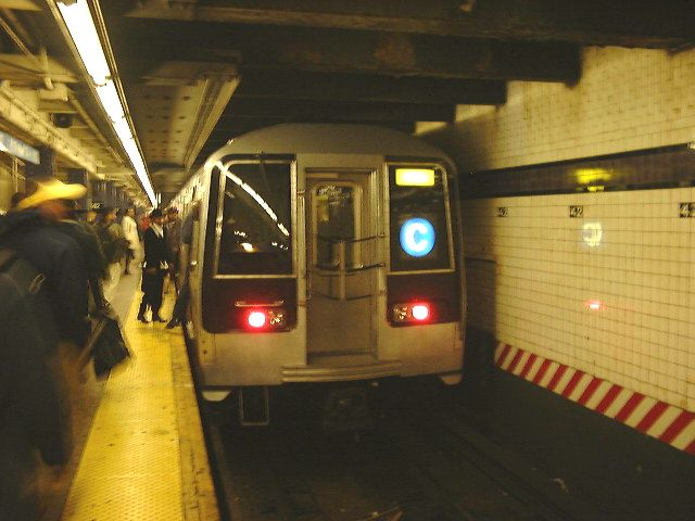 (61k, 640x480)<br><b>Country:</b> United States<br><b>City:</b> New York<br><b>System:</b> New York City Transit<br><b>Line:</b> IND 8th Avenue Line<br><b>Location:</b> 42nd Street/Port Authority Bus Terminal <br><b>Route:</b> C<br><b>Car:</b> R-110B (Bombardier, 1992)  <br><b>Photo by:</b> Trevor Logan<br><b>Date:</b> 9/2000<br><b>Viewed (this week/total):</b> 1 / 13993