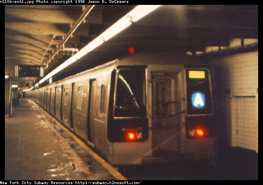 (38k, 540x379)<br><b>Country:</b> United States<br><b>City:</b> New York<br><b>System:</b> New York City Transit<br><b>Line:</b> IND 8th Avenue Line<br><b>Location:</b> 207th Street <br><b>Route:</b> A<br><b>Car:</b> R-110B (Bombardier, 1992) 3001 <br><b>Photo by:</b> Jason R. DeCesare<br><b>Date:</b> 1997<br><b>Notes:</b> Head End<br><b>Viewed (this week/total):</b> 5 / 10555