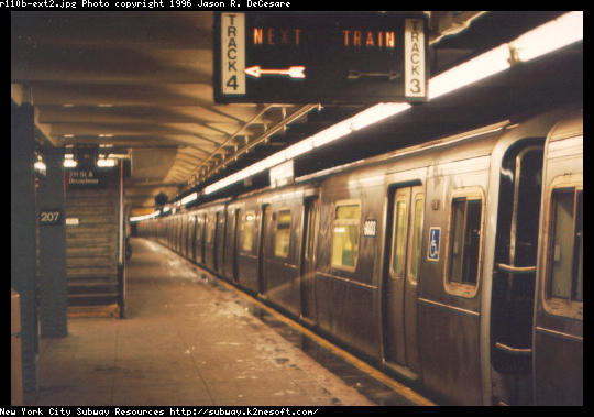 (42k, 540x379)<br><b>Country:</b> United States<br><b>City:</b> New York<br><b>System:</b> New York City Transit<br><b>Line:</b> IND 8th Avenue Line<br><b>Location:</b> 207th Street <br><b>Route:</b> A<br><b>Car:</b> R-110B (Bombardier, 1992) 3003 <br><b>Photo by:</b> Jason R. DeCesare<br><b>Date:</b> 1997<br><b>Notes:</b> Side View<br><b>Viewed (this week/total):</b> 3 / 8796