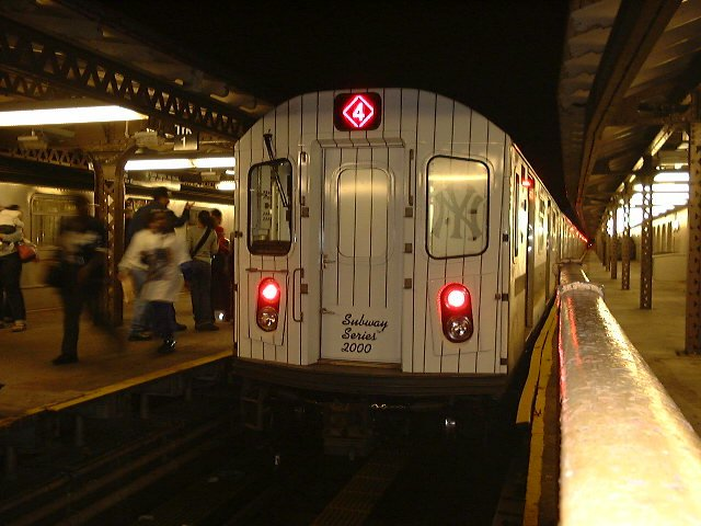 (71k, 640x480)<br><b>Country:</b> United States<br><b>City:</b> New York<br><b>System:</b> New York City Transit<br><b>Line:</b> IRT Woodlawn Line<br><b>Location:</b> Woodlawn <br><b>Car:</b> R-142 (Primary Order, Bombardier, 1999-2002)  6310 <br><b>Photo by:</b> Trevor Logan<br><b>Date:</b> 10/21/2000<br><b>Notes:</b> World Series Special<br><b>Viewed (this week/total):</b> 18 / 14654