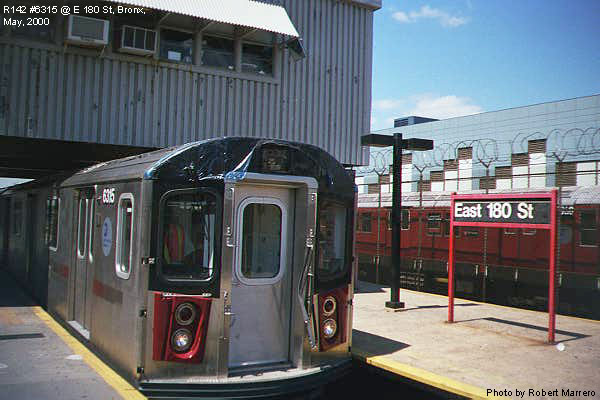 (65k, 600x400)<br><b>Country:</b> United States<br><b>City:</b> New York<br><b>System:</b> New York City Transit<br><b>Line:</b> IRT White Plains Road Line<br><b>Location:</b> East 180th Street <br><b>Car:</b> R-142 (Primary Order, Bombardier, 1999-2002)  6315 <br><b>Photo by:</b> Robert Marrero<br><b>Date:</b> 5/2000<br><b>Viewed (this week/total):</b> 0 / 5012