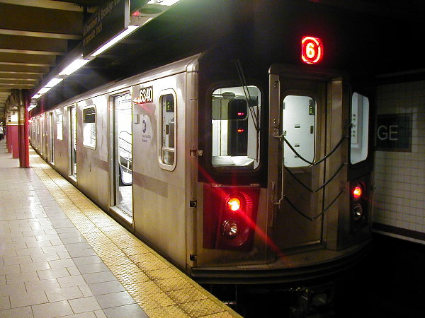 (77k, 600x450)<br><b>Country:</b> United States<br><b>City:</b> New York<br><b>System:</b> New York City Transit<br><b>Line:</b> IRT East Side Line<br><b>Location:</b> Brooklyn Bridge/City Hall <br><b>Route:</b> 6<br><b>Car:</b> R-142 (Primary Order, Bombardier, 1999-2002)  6340 <br><b>Photo by:</b> Trevor Logan<br><b>Date:</b> 7/2001<br><b>Viewed (this week/total):</b> 10 / 23466