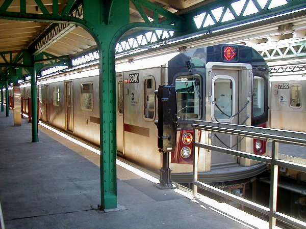 (100k, 600x450)<br><b>Country:</b> United States<br><b>City:</b> New York<br><b>System:</b> New York City Transit<br><b>Line:</b> IRT Pelham Line<br><b>Location:</b> Pelham Bay Park <br><b>Route:</b> 6<br><b>Car:</b> R-142 (Primary Order, Bombardier, 1999-2002)  6340 <br><b>Photo by:</b> Trevor Logan<br><b>Date:</b> 7/2001<br><b>Viewed (this week/total):</b> 0 / 7218