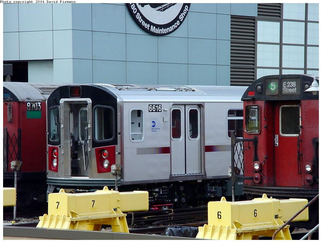 (127k, 1044x788)<br><b>Country:</b> United States<br><b>City:</b> New York<br><b>System:</b> New York City Transit<br><b>Location:</b> East 180th Street Yard<br><b>Car:</b> R-142 (Primary Order, Bombardier, 1999-2002)  6616 <br><b>Photo by:</b> David Pirmann<br><b>Date:</b> 7/3/2001<br><b>Viewed (this week/total):</b> 0 / 5551