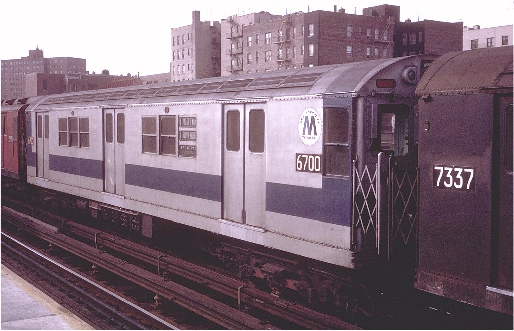 (196k, 1024x659)<br><b>Country:</b> United States<br><b>City:</b> New York<br><b>System:</b> New York City Transit<br><b>Line:</b> IRT West Side Line<br><b>Location:</b> 231st Street <br><b>Route:</b> 1<br><b>Car:</b> R-17 (St. Louis, 1955-56) 6700 <br><b>Photo by:</b> Steve Zabel<br><b>Collection of:</b> Joe Testagrose<br><b>Date:</b> 11/22/1970<br><b>Viewed (this week/total):</b> 1 / 2058