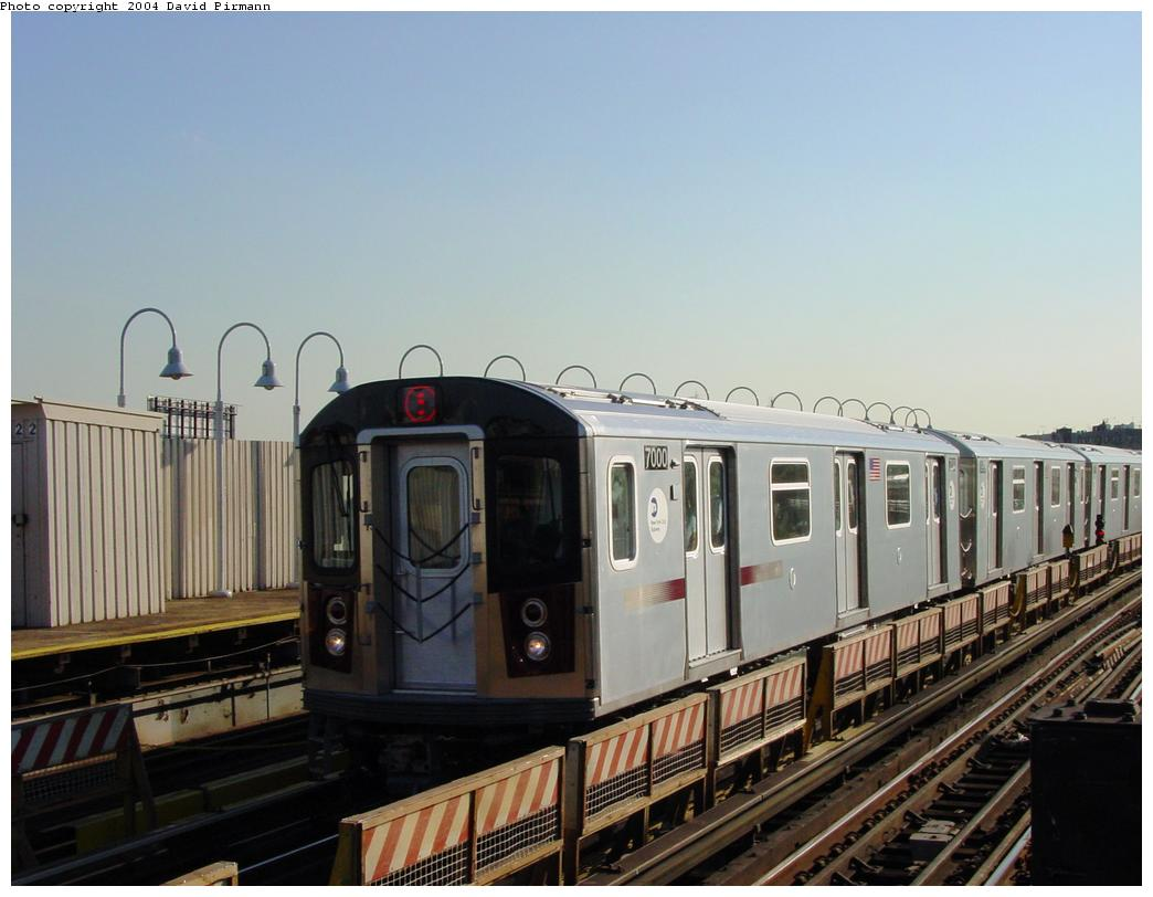 (104k, 1044x812)<br><b>Country:</b> United States<br><b>City:</b> New York<br><b>System:</b> New York City Transit<br><b>Line:</b> IRT White Plains Road Line<br><b>Location:</b> West Farms Sq./East Tremont Ave./177th St. <br><b>Route:</b> 5<br><b>Car:</b> R-142 (Option Order, Bombardier, 2002-2003)  7000 <br><b>Photo by:</b> David Pirmann<br><b>Date:</b> 8/21/2002<br><b>Viewed (this week/total):</b> 1 / 5381