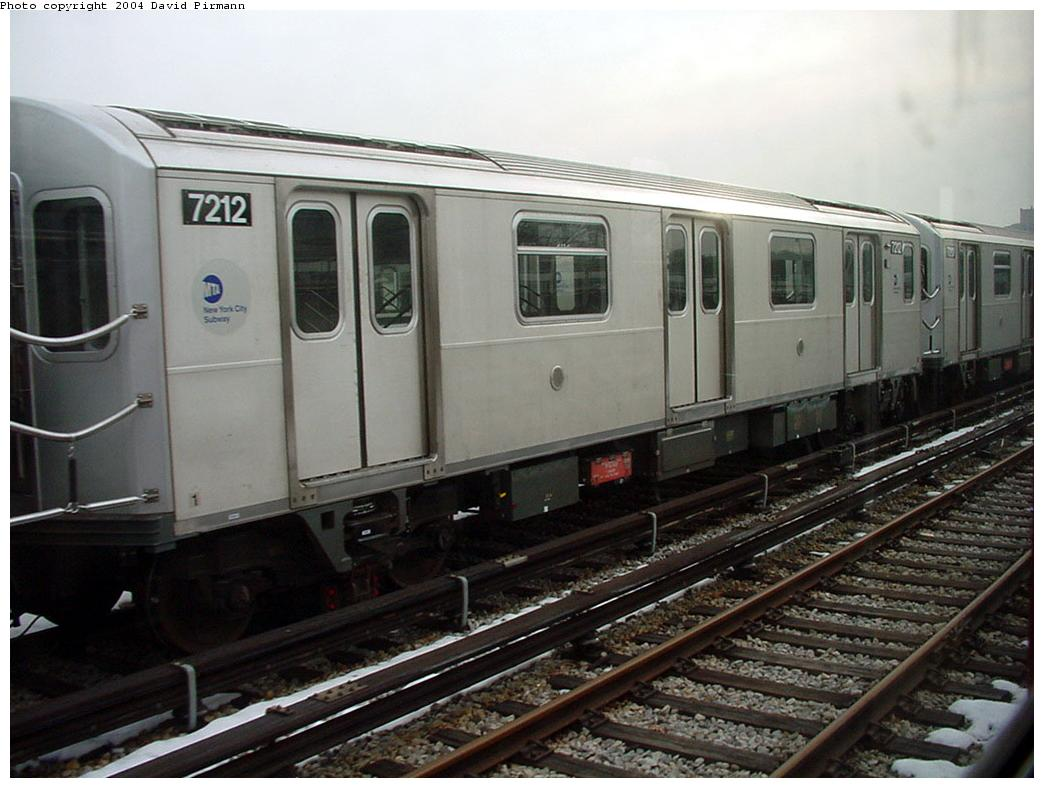 (116k, 1044x788)<br><b>Country:</b> United States<br><b>City:</b> New York<br><b>System:</b> New York City Transit<br><b>Location:</b> Unionport Yard<br><b>Car:</b> R-142A (Primary Order, Kawasaki, 1999-2002)  7212 <br><b>Photo by:</b> David Pirmann<br><b>Date:</b> 1/14/2001<br><b>Viewed (this week/total):</b> 2 / 2973