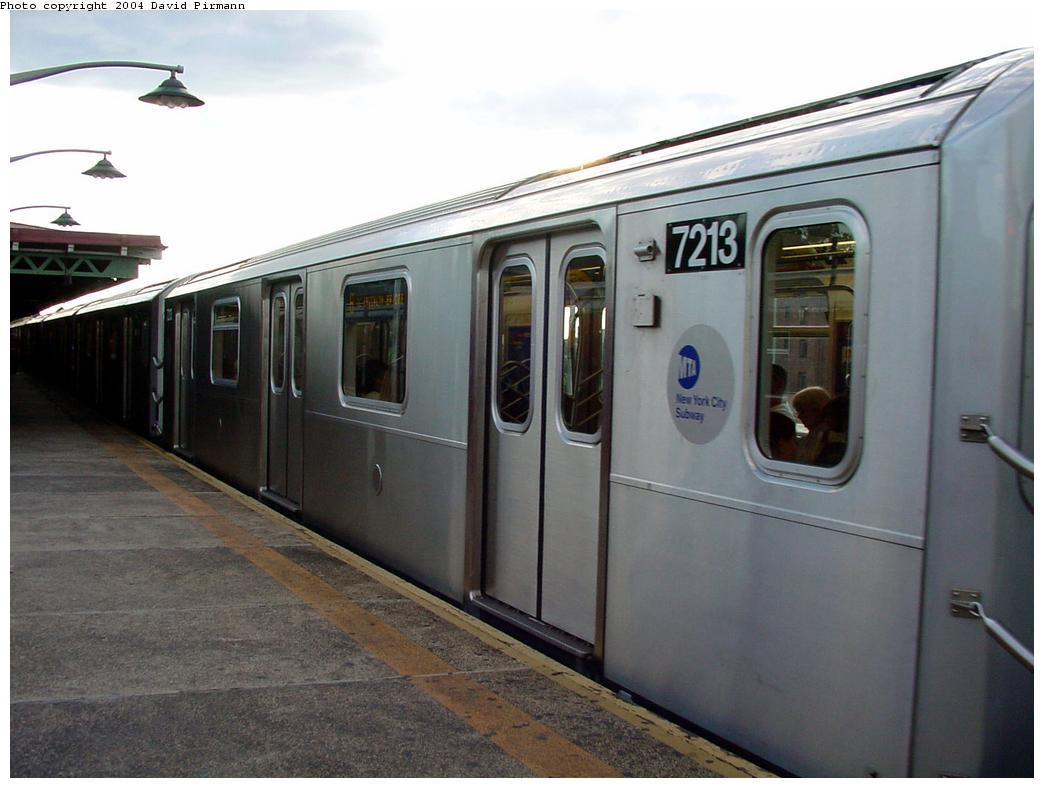 (101k, 1044x788)<br><b>Country:</b> United States<br><b>City:</b> New York<br><b>System:</b> New York City Transit<br><b>Line:</b> IRT Pelham Line<br><b>Location:</b> East 177th Street/Parkchester <br><b>Route:</b> 6<br><b>Car:</b> R-142A (Primary Order, Kawasaki, 1999-2002)  7213 <br><b>Photo by:</b> David Pirmann<br><b>Date:</b> 7/11/2000<br><b>Viewed (this week/total):</b> 0 / 3456