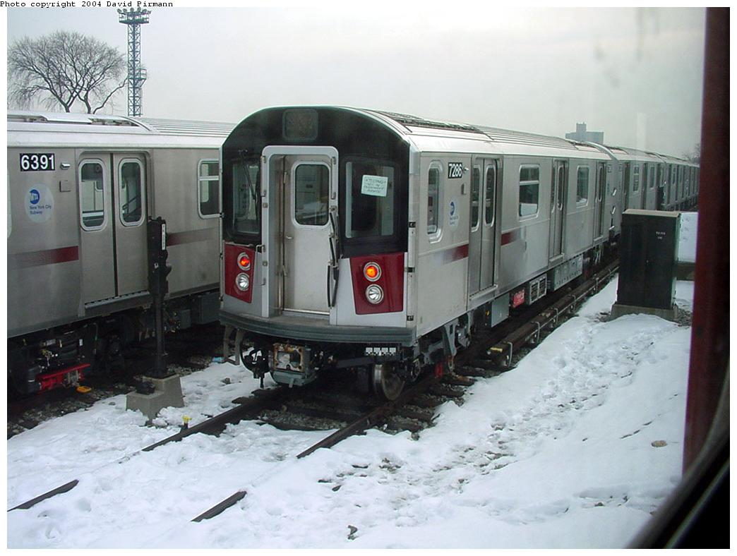 (112k, 1044x788)<br><b>Country:</b> United States<br><b>City:</b> New York<br><b>System:</b> New York City Transit<br><b>Location:</b> Unionport Yard<br><b>Car:</b> R-142A (Primary Order, Kawasaki, 1999-2002)  7286 <br><b>Photo by:</b> David Pirmann<br><b>Date:</b> 1/14/2001<br><b>Viewed (this week/total):</b> 4 / 4766