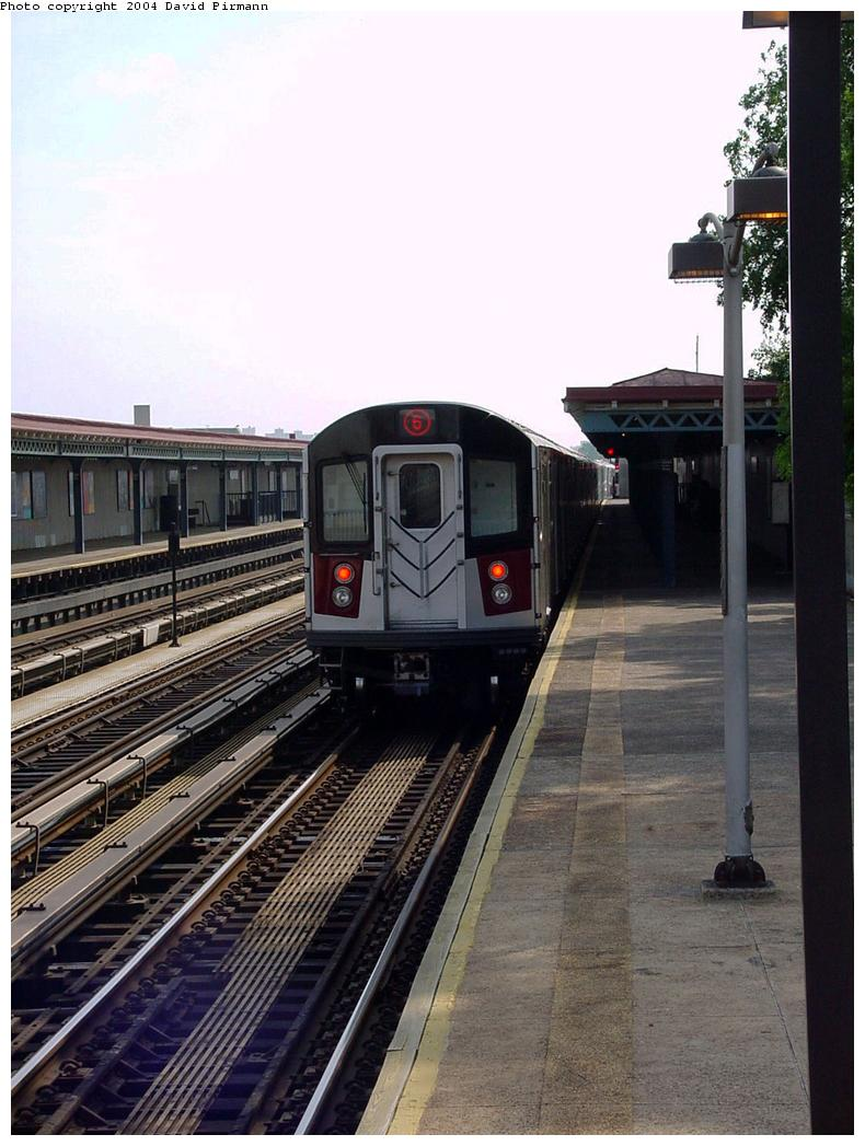 (126k, 790x1047)<br><b>Country:</b> United States<br><b>City:</b> New York<br><b>System:</b> New York City Transit<br><b>Line:</b> IRT Pelham Line<br><b>Location:</b> Middletown Road <br><b>Route:</b> 6<br><b>Car:</b> R-142A (Primary Order, Kawasaki, 1999-2002)  7361 <br><b>Photo by:</b> David Pirmann<br><b>Date:</b> 7/4/2001<br><b>Viewed (this week/total):</b> 0 / 3024