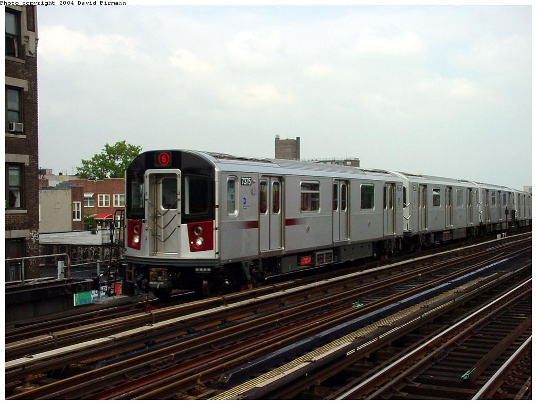 (119k, 1044x788)<br><b>Country:</b> United States<br><b>City:</b> New York<br><b>System:</b> New York City Transit<br><b>Line:</b> IRT Pelham Line<br><b>Location:</b> Elder Avenue <br><b>Route:</b> 6<br><b>Car:</b> R-142A (Primary Order, Kawasaki, 1999-2002)  7375 <br><b>Photo by:</b> David Pirmann<br><b>Date:</b> 7/4/2001<br><b>Viewed (this week/total):</b> 2 / 4461