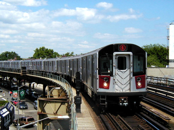 (86k, 600x450)<br><b>Country:</b> United States<br><b>City:</b> New York<br><b>System:</b> New York City Transit<br><b>Line:</b> IRT Pelham Line<br><b>Location:</b> Buhre Avenue <br><b>Route:</b> 6<br><b>Car:</b> R-142A (Primary Order, Kawasaki, 1999-2002)  7390 <br><b>Photo by:</b> Trevor Logan<br><b>Date:</b> 7/2001<br><b>Viewed (this week/total):</b> 0 / 14465