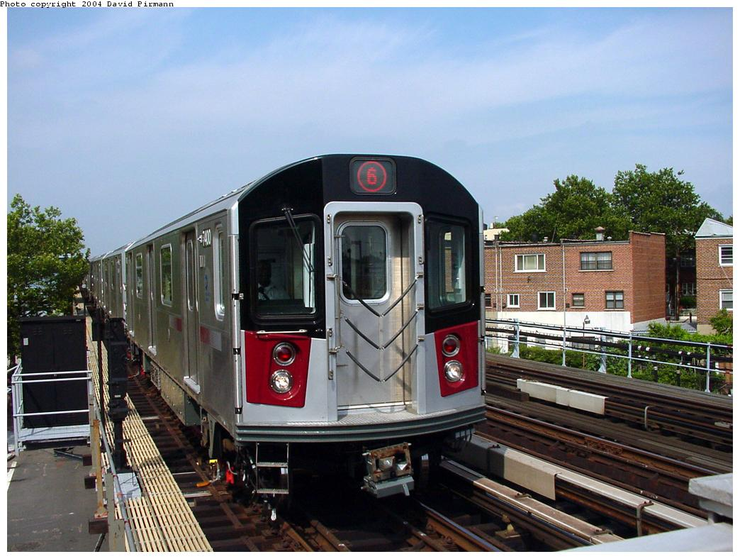 (138k, 1044x788)<br><b>Country:</b> United States<br><b>City:</b> New York<br><b>System:</b> New York City Transit<br><b>Line:</b> IRT Pelham Line<br><b>Location:</b> Middletown Road <br><b>Route:</b> 6<br><b>Car:</b> R-142A (Primary Order, Kawasaki, 1999-2002)  7400 <br><b>Photo by:</b> David Pirmann<br><b>Date:</b> 7/4/2001<br><b>Viewed (this week/total):</b> 0 / 3209
