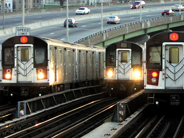 (86k, 600x450)<br><b>Country:</b> United States<br><b>City:</b> New York<br><b>System:</b> New York City Transit<br><b>Line:</b> IRT Pelham Line<br><b>Location:</b> Whitlock Avenue <br><b>Route:</b> 6<br><b>Car:</b> R-142 or R-142A (Number Unknown)  <br><b>Photo by:</b> Trevor Logan<br><b>Date:</b> 11/12/2001<br><b>Viewed (this week/total):</b> 0 / 19151