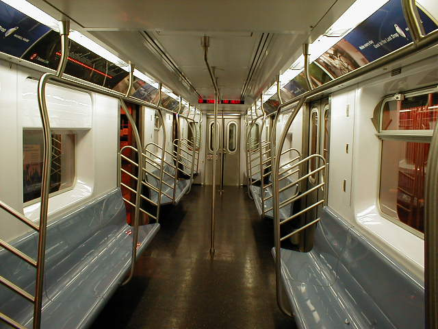 (59k, 640x480)<br><b>Country:</b> United States<br><b>City:</b> New York<br><b>System:</b> New York City Transit<br><b>Car:</b> R-142 or R-142A (Number Unknown) Interior <br><b>Photo by:</b> Nathan Comens<br><b>Date:</b> 8/7/2000<br><b>Viewed (this week/total):</b> 9 / 17362