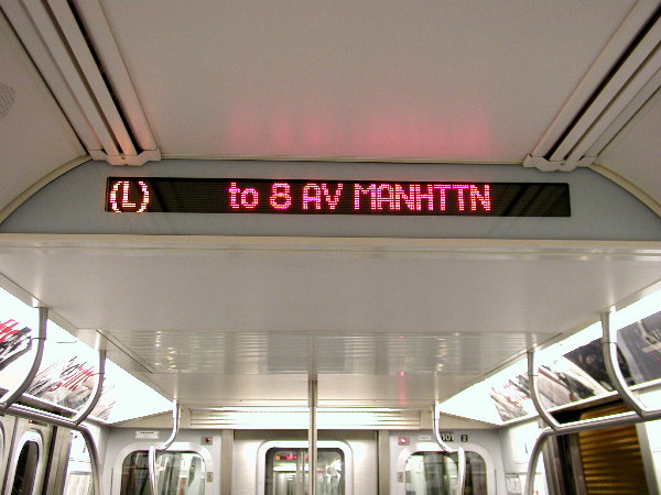 (68k, 600x450)<br><b>Country:</b> United States<br><b>City:</b> New York<br><b>System:</b> New York City Transit<br><b>Car:</b> R-143 (Kawasaki, 2001-2002) Interior <br><b>Photo by:</b> Trevor Logan<br><b>Date:</b> 12/4/2001<br><b>Notes:</b> Interior sign<br><b>Viewed (this week/total):</b> 14 / 15849