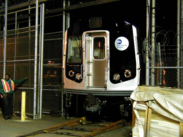 (91k, 600x450)<br><b>Country:</b> United States<br><b>City:</b> New York<br><b>System:</b> New York City Transit<br><b>Location:</b> 207th Street Yard<br><b>Car:</b> R-143 (Kawasaki, 2001-2002) 8101 <br><b>Photo by:</b> Trevor Logan<br><b>Date:</b> 4/30/2001<br><b>Viewed (this week/total):</b> 0 / 6280