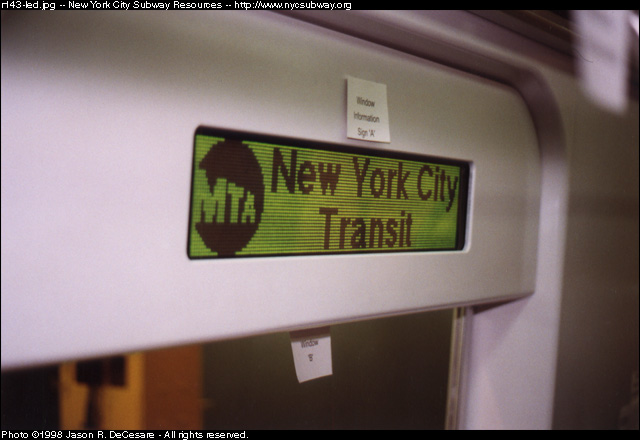 (79k, 640x440)<br><b>Country:</b> United States<br><b>City:</b> New York<br><b>System:</b> New York City Transit<br><b>Location:</b> 207th Street Shop<br><b>Car:</b> R-143 (Kawasaki, 2001-2002) Mockup <br><b>Photo by:</b> Jason R. DeCesare<br><b>Date:</b> 7/10/1998<br><b>Notes:</b> LED sign, type 1<br><b>Viewed (this week/total):</b> 0 / 4736