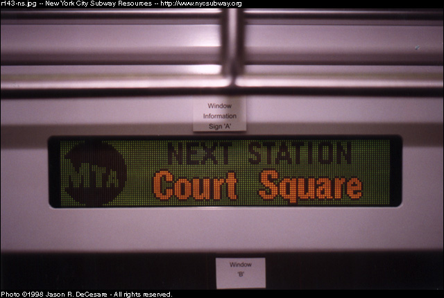 (92k, 640x430)<br><b>Country:</b> United States<br><b>City:</b> New York<br><b>System:</b> New York City Transit<br><b>Location:</b> 207th Street Shop<br><b>Car:</b> R-143 (Kawasaki, 2001-2002) Mockup <br><b>Photo by:</b> Jason R. DeCesare<br><b>Date:</b> 7/10/1998<br><b>Notes:</b> LED sign, type 2<br><b>Viewed (this week/total):</b> 1 / 4903