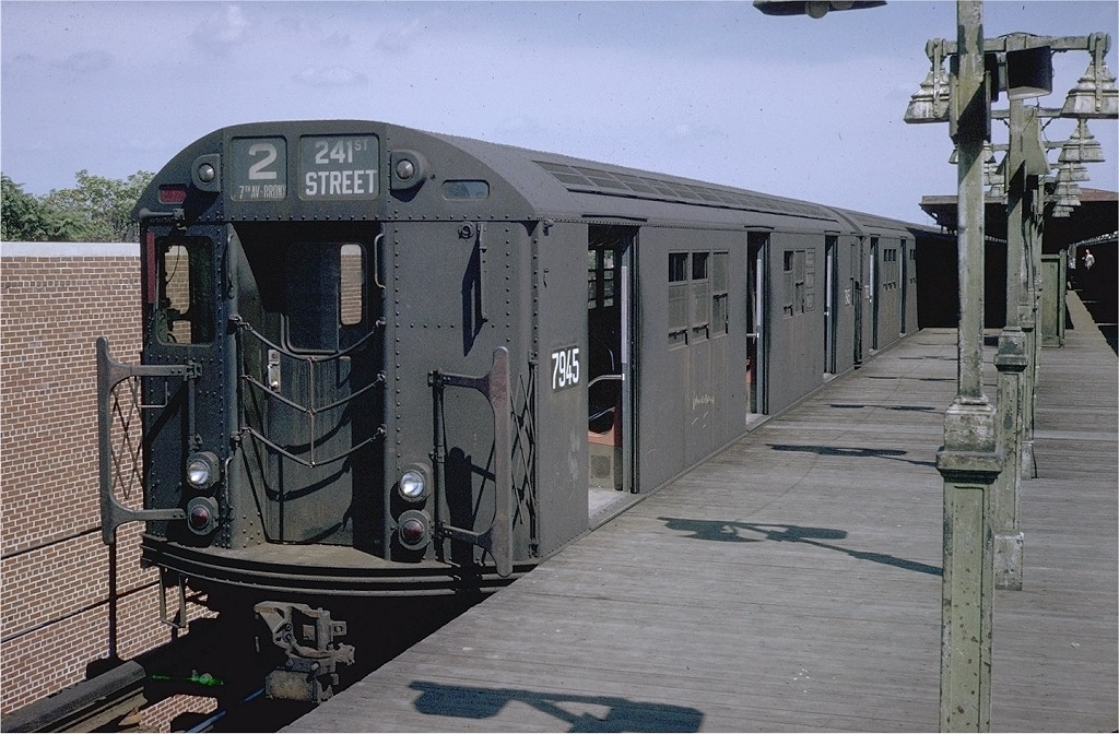 (216k, 1024x672)<br><b>Country:</b> United States<br><b>City:</b> New York<br><b>System:</b> New York City Transit<br><b>Line:</b> IRT Brooklyn Line<br><b>Location:</b> New Lots Avenue <br><b>Car:</b> R-28 (American Car & Foundry, 1960-61) 7945 <br><b>Photo by:</b> Doug Grotjahn<br><b>Collection of:</b> Joe Testagrose<br><b>Viewed (this week/total):</b> 3 / 6207