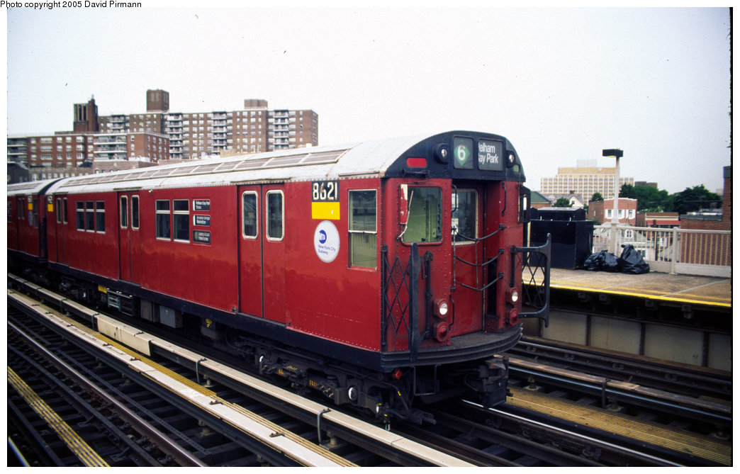 (183k, 1044x669)<br><b>Country:</b> United States<br><b>City:</b> New York<br><b>System:</b> New York City Transit<br><b>Line:</b> IRT Pelham Line<br><b>Location:</b> Buhre Avenue <br><b>Route:</b> 6<br><b>Car:</b> R-29 (St. Louis, 1962) 8621 <br><b>Photo by:</b> David Pirmann<br><b>Date:</b> 7/21/1999<br><b>Viewed (this week/total):</b> 2 / 3634