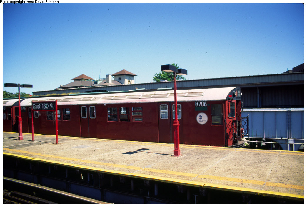 (168k, 1044x703)<br><b>Country:</b> United States<br><b>City:</b> New York<br><b>System:</b> New York City Transit<br><b>Line:</b> IRT White Plains Road Line<br><b>Location:</b> East 180th Street <br><b>Route:</b> 2<br><b>Car:</b> R-29 (St. Louis, 1962) 8706 <br><b>Photo by:</b> David Pirmann<br><b>Date:</b> 8/1/1998<br><b>Viewed (this week/total):</b> 0 / 4718