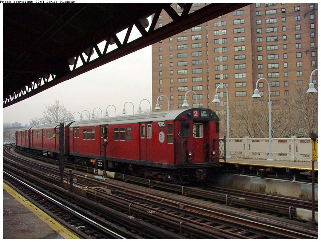 (148k, 1044x788)<br><b>Country:</b> United States<br><b>City:</b> New York<br><b>System:</b> New York City Transit<br><b>Line:</b> IRT White Plains Road Line<br><b>Location:</b> Jackson Avenue <br><b>Route:</b> 2<br><b>Car:</b> R-33 Main Line (St. Louis, 1962-63) 9003 <br><b>Photo by:</b> David Pirmann<br><b>Date:</b> 1/14/2001<br><b>Viewed (this week/total):</b> 2 / 2924