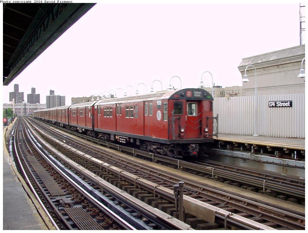 (134k, 1044x788)<br><b>Country:</b> United States<br><b>City:</b> New York<br><b>System:</b> New York City Transit<br><b>Line:</b> IRT White Plains Road Line<br><b>Location:</b> 174th Street <br><b>Route:</b> 2<br><b>Car:</b> R-33 Main Line (St. Louis, 1962-63) 9008 <br><b>Photo by:</b> David Pirmann<br><b>Date:</b> 7/3/2001<br><b>Viewed (this week/total):</b> 3 / 4834