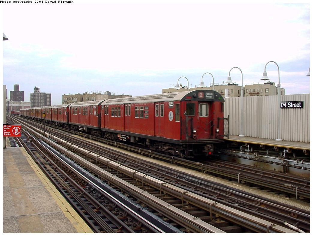 (132k, 1044x788)<br><b>Country:</b> United States<br><b>City:</b> New York<br><b>System:</b> New York City Transit<br><b>Line:</b> IRT White Plains Road Line<br><b>Location:</b> 174th Street <br><b>Route:</b> 2<br><b>Car:</b> R-33 Main Line (St. Louis, 1962-63) 9033 <br><b>Photo by:</b> David Pirmann<br><b>Date:</b> 7/3/2001<br><b>Viewed (this week/total):</b> 2 / 3393
