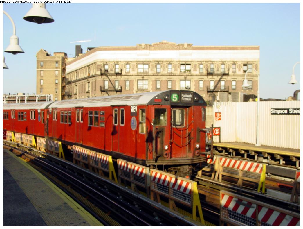 (119k, 1044x788)<br><b>Country:</b> United States<br><b>City:</b> New York<br><b>System:</b> New York City Transit<br><b>Line:</b> IRT White Plains Road Line<br><b>Location:</b> Simpson Street <br><b>Route:</b> 5<br><b>Car:</b> R-33 Main Line (St. Louis, 1962-63) 9059 <br><b>Photo by:</b> David Pirmann<br><b>Date:</b> 8/21/2002<br><b>Viewed (this week/total):</b> 16 / 5276