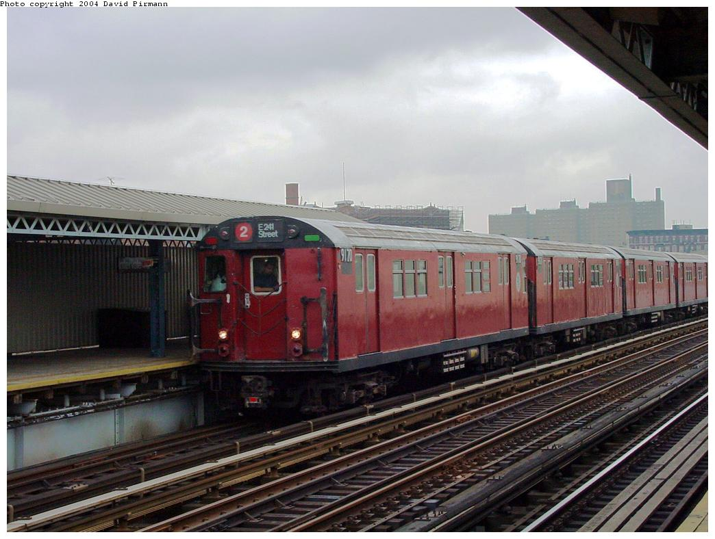 (124k, 1044x788)<br><b>Country:</b> United States<br><b>City:</b> New York<br><b>System:</b> New York City Transit<br><b>Line:</b> IRT White Plains Road Line<br><b>Location:</b> Intervale Avenue <br><b>Route:</b> 2<br><b>Car:</b> R-33 Main Line (St. Louis, 1962-63) 9170 <br><b>Photo by:</b> David Pirmann<br><b>Date:</b> 7/29/2000<br><b>Viewed (this week/total):</b> 3 / 4465