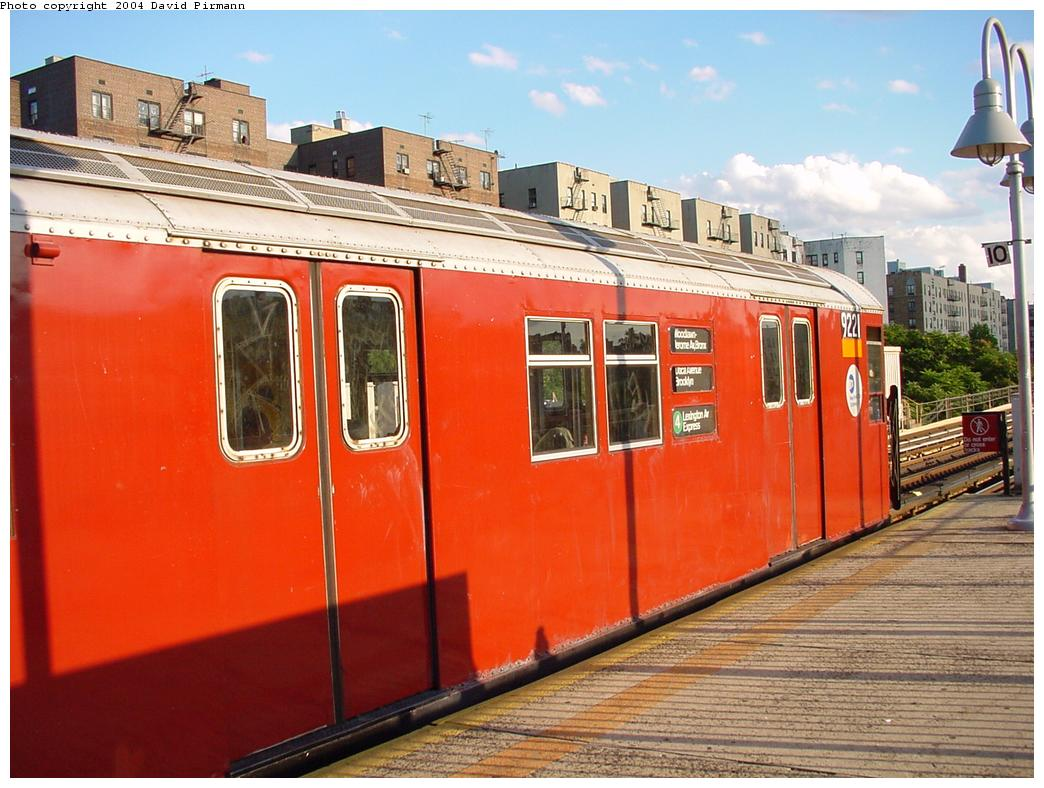 (132k, 1044x788)<br><b>Country:</b> United States<br><b>City:</b> New York<br><b>System:</b> New York City Transit<br><b>Line:</b> IRT Woodlawn Line<br><b>Location:</b> Mt. Eden Avenue <br><b>Route:</b> 4<br><b>Car:</b> R-33 Main Line (St. Louis, 1962-63) 9221 <br><b>Photo by:</b> David Pirmann<br><b>Date:</b> 7/12/2001<br><b>Viewed (this week/total):</b> 5 / 4042