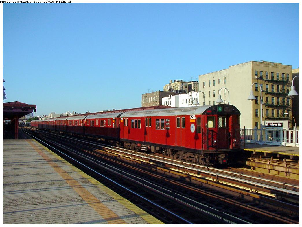 (127k, 1044x788)<br><b>Country:</b> United States<br><b>City:</b> New York<br><b>System:</b> New York City Transit<br><b>Line:</b> IRT Woodlawn Line<br><b>Location:</b> Mt. Eden Avenue <br><b>Route:</b> 4<br><b>Car:</b> R-33 Main Line (St. Louis, 1962-63) 9253 <br><b>Photo by:</b> David Pirmann<br><b>Date:</b> 7/12/2001<br><b>Viewed (this week/total):</b> 0 / 4550