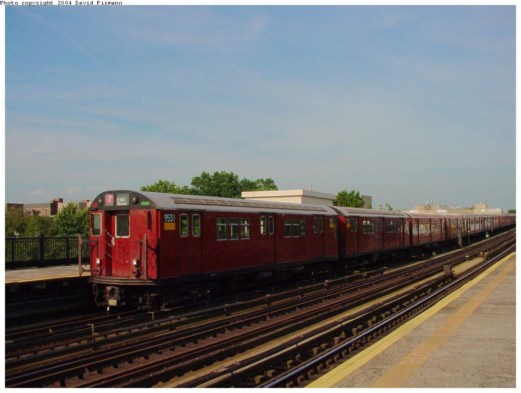 (98k, 1044x788)<br><b>Country:</b> United States<br><b>City:</b> New York<br><b>System:</b> New York City Transit<br><b>Line:</b> IRT Flushing Line<br><b>Location:</b> 69th Street/Fisk Avenue <br><b>Route:</b> 7<br><b>Car:</b> R-36 Main Line (St. Louis, 1964) 9531 <br><b>Photo by:</b> David Pirmann<br><b>Date:</b> 7/16/2001<br><b>Viewed (this week/total):</b> 2 / 1841