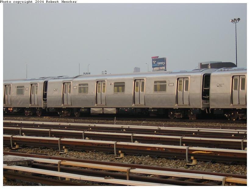 (96k, 820x620)<br><b>Country:</b> United States<br><b>City:</b> New York<br><b>System:</b> New York City Transit<br><b>Location:</b> Coney Island Yard<br><b>Car:</b> R-110B (Bombardier, 1992) 3005 <br><b>Photo by:</b> Robert Mencher<br><b>Date:</b> 5/12/2004<br><b>Viewed (this week/total):</b> 15 / 3416