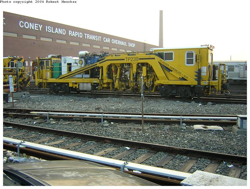 (141k, 820x620)<br><b>Country:</b> United States<br><b>City:</b> New York<br><b>System:</b> New York City Transit<br><b>Location:</b> Coney Island Yard<br><b>Car:</b> Ballast Tamper TP239 <br><b>Photo by:</b> Robert Mencher<br><b>Date:</b> 5/12/2004<br><b>Viewed (this week/total):</b> 1 / 2662