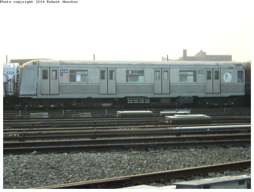(92k, 820x620)<br><b>Country:</b> United States<br><b>City:</b> New York<br><b>System:</b> New York City Transit<br><b>Location:</b> Coney Island Yard<br><b>Car:</b> R-40 (St. Louis, 1968)  4238 <br><b>Photo by:</b> Robert Mencher<br><b>Date:</b> 5/12/2004<br><b>Viewed (this week/total):</b> 2 / 2605