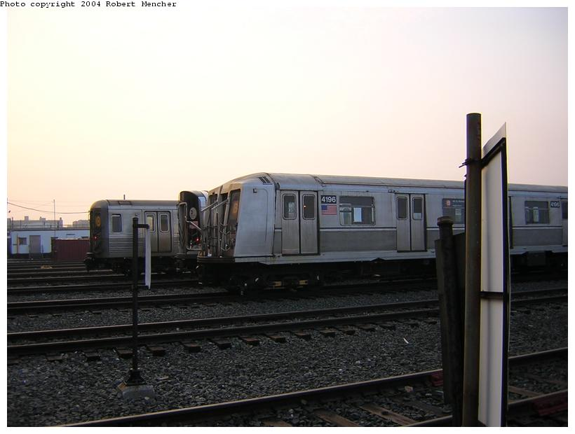 (90k, 820x620)<br><b>Country:</b> United States<br><b>City:</b> New York<br><b>System:</b> New York City Transit<br><b>Location:</b> Coney Island Yard<br><b>Car:</b> R-40 (St. Louis, 1968)  4196 <br><b>Photo by:</b> Robert Mencher<br><b>Date:</b> 5/12/2004<br><b>Viewed (this week/total):</b> 0 / 2716