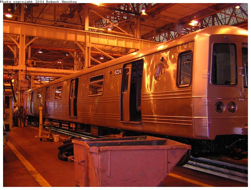 (132k, 820x620)<br><b>Country:</b> United States<br><b>City:</b> New York<br><b>System:</b> New York City Transit<br><b>Location:</b> Coney Island Shop/Overhaul & Repair Shop<br><b>Car:</b> R-46 (Pullman-Standard, 1974-75) 6224 <br><b>Photo by:</b> Robert Mencher<br><b>Date:</b> 5/12/2004<br><b>Viewed (this week/total):</b> 0 / 2726