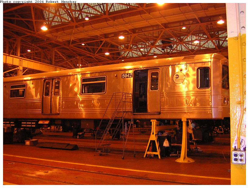 (136k, 820x620)<br><b>Country:</b> United States<br><b>City:</b> New York<br><b>System:</b> New York City Transit<br><b>Location:</b> Coney Island Shop/Overhaul & Repair Shop<br><b>Car:</b> R-46 (Pullman-Standard, 1974-75) 5942 <br><b>Photo by:</b> Robert Mencher<br><b>Date:</b> 5/12/2004<br><b>Viewed (this week/total):</b> 1 / 2148