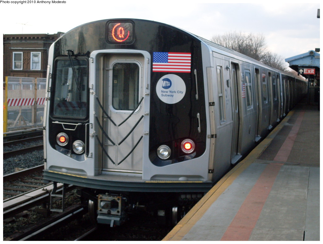 (212k, 1044x788)<br><b>Country:</b> United States<br><b>City:</b> New York<br><b>System:</b> New York City Transit<br><b>Line:</b> BMT Brighton Line<br><b>Location:</b> Neck Road <br><b>Route:</b> Q<br><b>Car:</b> R-160B (Option 1) (Kawasaki, 2008-2009)  9167 <br><b>Photo by:</b> Anthony Modesto<br><b>Date:</b> 3/22/2009<br><b>Viewed (this week/total):</b> 2 / 491