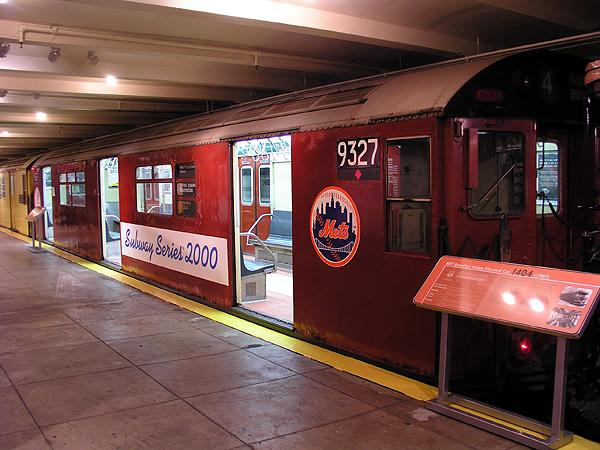 (71k, 600x450)<br><b>Country:</b> United States<br><b>City:</b> New York<br><b>System:</b> New York City Transit<br><b>Location:</b> New York Transit Museum<br><b>Car:</b> R-33 World's Fair (St. Louis, 1963-64) 9327 <br><b>Photo by:</b> Trevor Logan<br><b>Date:</b> 5/16/2004<br><b>Notes:</b> Mets end of subway series car<br><b>Viewed (this week/total):</b> 3 / 8714