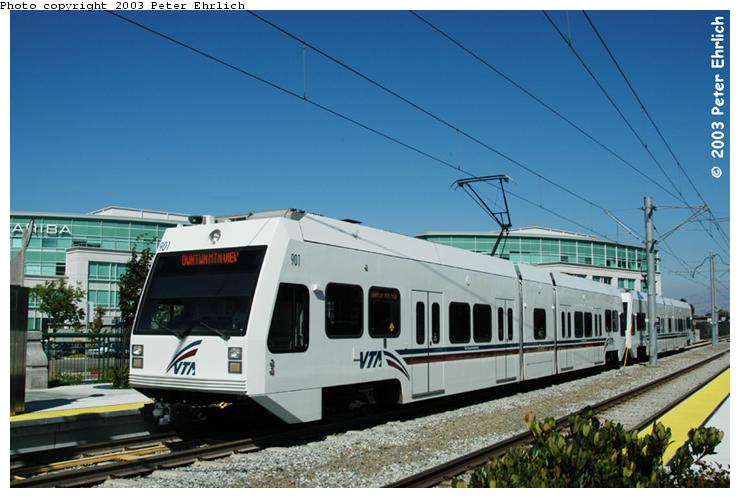 (63k, 740x498)<br><b>Country:</b> United States<br><b>City:</b> San Jose, CA<br><b>System:</b> Santa Clara VTA<br><b>Line:</b> VTA Tasman West/Mountain View<br><b>Location:</b> Moffett Park <br><b>Car:</b> VTA Kinki-Sharyo 901 <br><b>Photo by:</b> Peter Ehrlich<br><b>Date:</b> 8/28/2003<br><b>Notes:</b> New station (opened in 2002).<br><b>Viewed (this week/total):</b> 1 / 1763