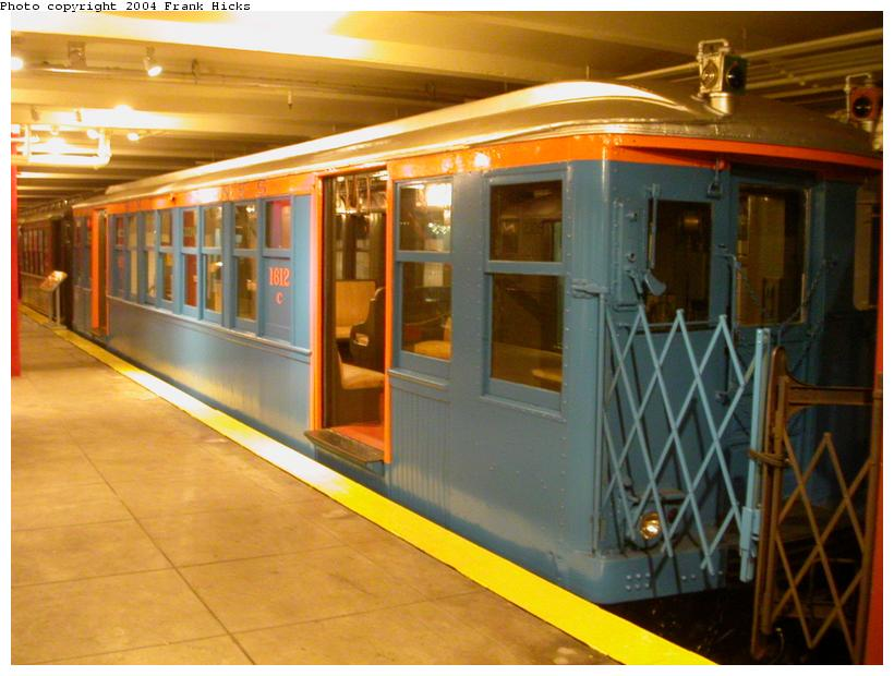 (106k, 820x620)<br><b>Country:</b> United States<br><b>City:</b> New York<br><b>System:</b> New York City Transit<br><b>Location:</b> New York Transit Museum<br><b>Car:</b> BMT Q 1612C <br><b>Photo by:</b> Frank Hicks<br><b>Date:</b> 5/18/2004<br><b>Viewed (this week/total):</b> 1 / 5990